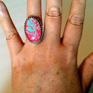 Sparkling 925 Triplet Opal Ring Pink Blue Green 7